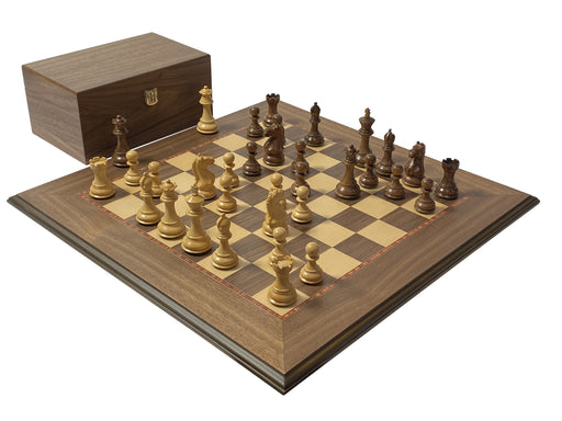 Acacia Fierce Knight Walnut Moulded Deluxe Chess Set - Official Staunton™