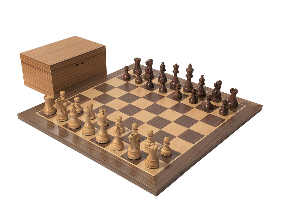 "21"" American Golden Rosewood Walnut Chess Set & Box - Official Staunton™"