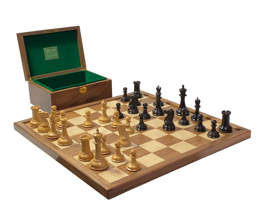 "1849 4.4"" Edition Reproduction Ebony & Boxwood Combination Chess Set - Official Staunton™"
