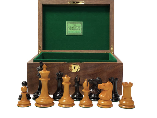 "4"" Leuchars Antique Chess Pieces & Box - Official Staunton™"