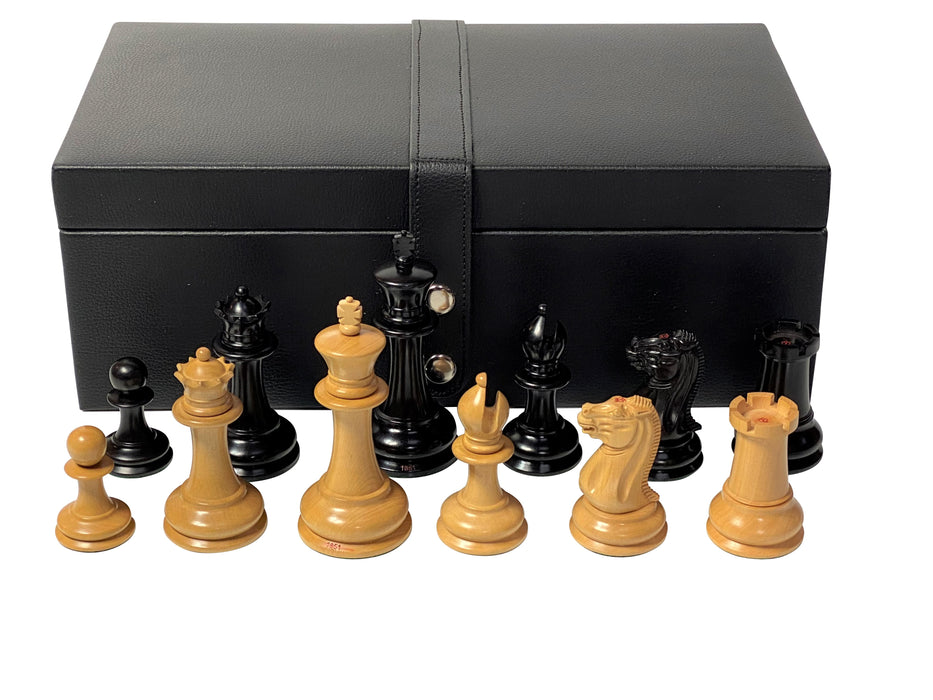 1851 Staunton Cooke Boxwood Ebony Chess Pieces & Box - Official Staunton™