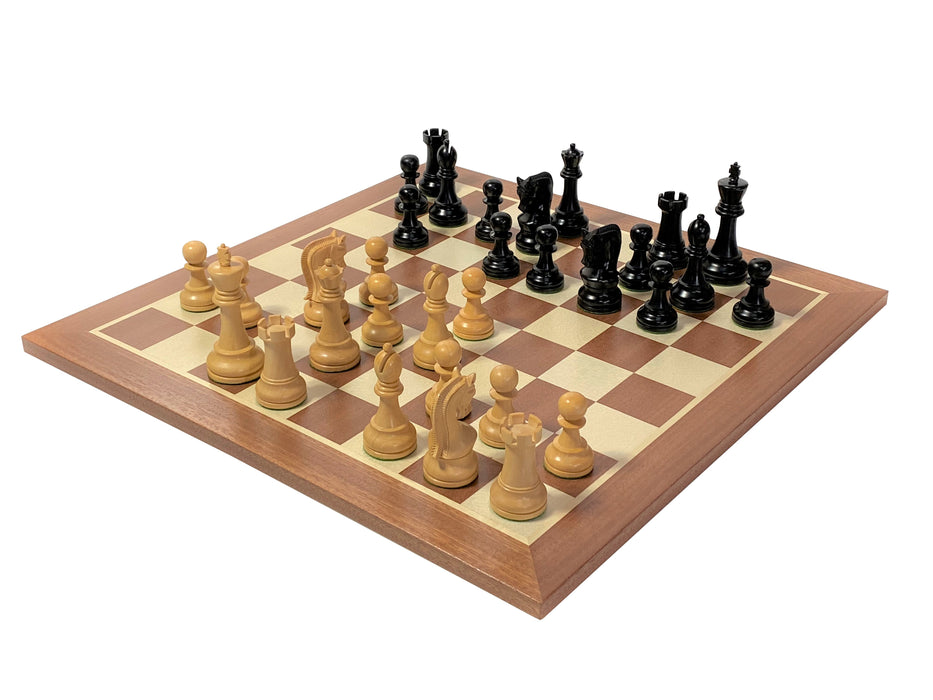 A Leningrad Ebonised Mahogany Acacia Chess Set Combination - Official Staunton™