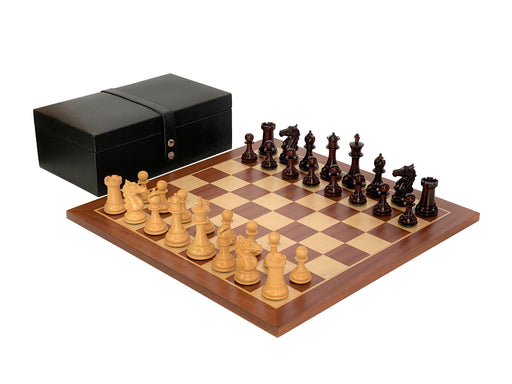 Aviator Padauk Chess Pieces Mahogany Board & Rexine Box - Official Staunton™