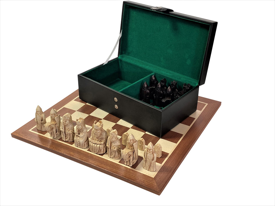ECC Isle of Lewis Ivory & Teak Chess Pieces, Mahogany Board & Rexine Box - Official Staunton™