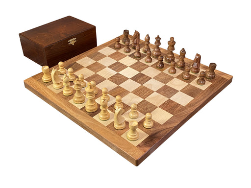 "16"" Handmade Solid Wood Classic Acacia Chess Set & Birch Box - Official Staunton™"