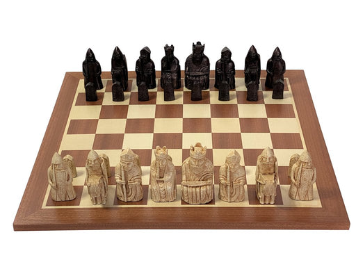 Isle of Lewis Chess Pieces & Mahogany Chess Board - Official Staunton™