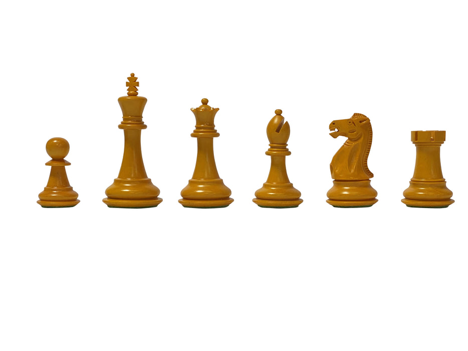 "3.5"" Antiqued English Staunton Chess Pieces & Mahogany Box - Official Staunton™"
