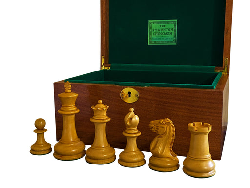 "1851 Antique & Ebony Morphy Series 4.4"" Chess Pieces & Box - Official Staunton™"