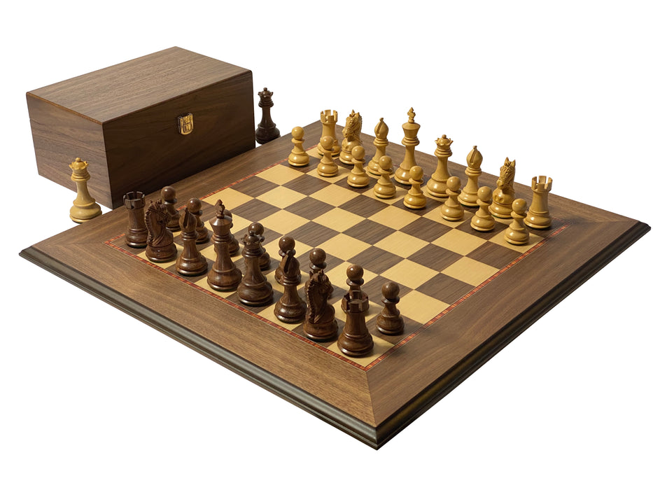Acacia Bridled Walnut Deluxe Moulded Edge Chess Set - Official Staunton™