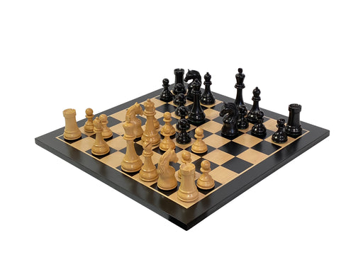 Steiner Design Boxwood Chess Pieces & Gloss Anegre Chess Board - Official Staunton™