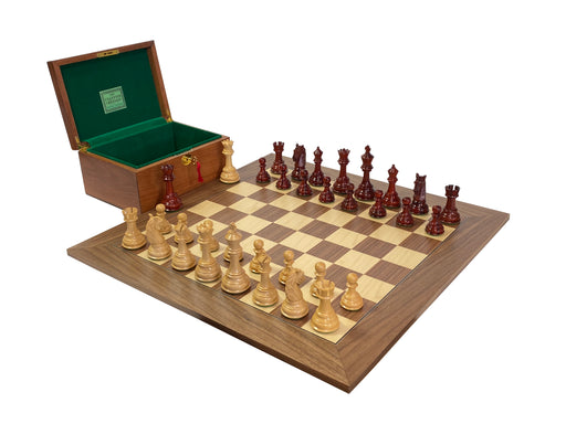 Artisan Series King Charles Padouk Walnut Chess Set - Official Staunton™