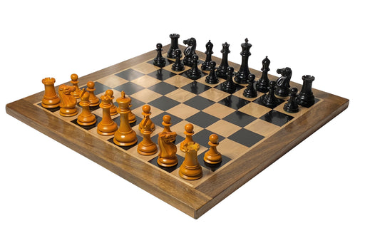 "1849 Antiqued Ebony Solid &  23"" Acacia Ebony Chessboard - Official Staunton™"