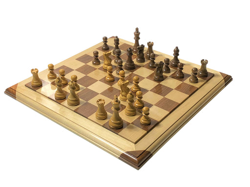 Executive Acacia Chess Pieces with Moulded Platform Chess Board & Box - Official Staunton™