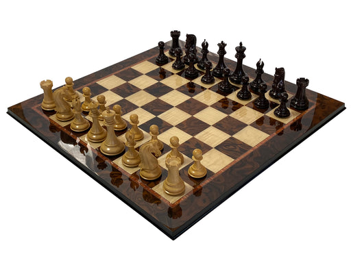 Italian Prestige Rosewood Profilex Chess Pieces & Walnut Chess Board - Official Staunton™