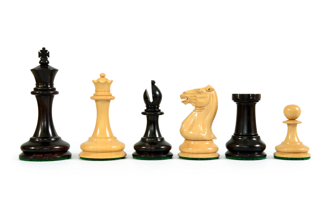 "1849 - 3.5"" Staunton Cooke Boxwood Ebony Chess Pieces & Solid Wood Chess Box - Official Staunton™"