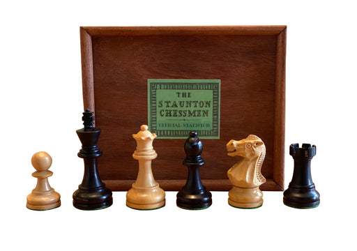"3"" Executive Black & Boxwood Chess Pieces & Slide Lid Box - Official Staunton™"