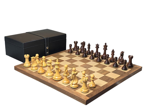 "20"" Stallion Rosewood Acacia Handmade Chess Set & Rexene Box"