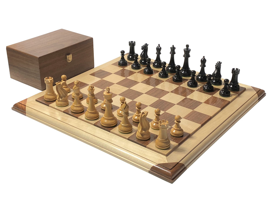 Artisan Winchester Black Chess Pieces & Moulded Platform Solid Wood Chess Board - Official Staunton™