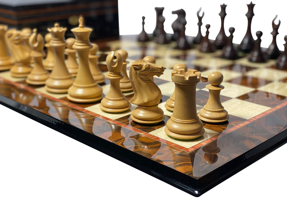 Collectors Prestige Rosewood Walnut Chess Set Combination