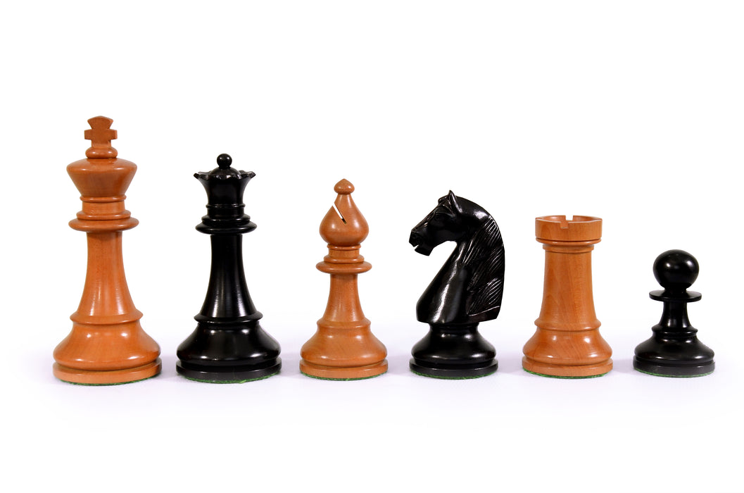 "4"" Hastings Antiqued and Black Chess Pieces - Official Staunton™"