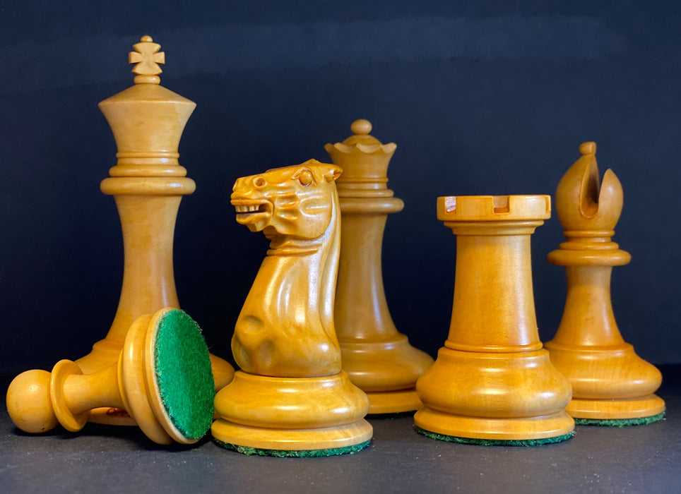 "3.5"" Antique & Ebony Cooke Chess Pieces & Box - Official Staunton™"