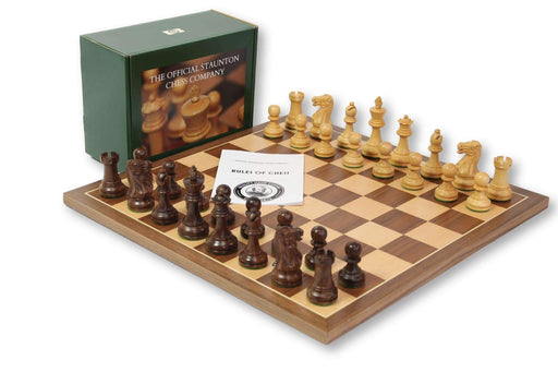 15.75 Inch Acacia Walnut Executive Chess Set - Chess Set