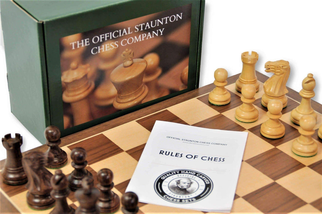 15.75 Inch Acacia Walnut Executive Chess Set - Official Staunton™