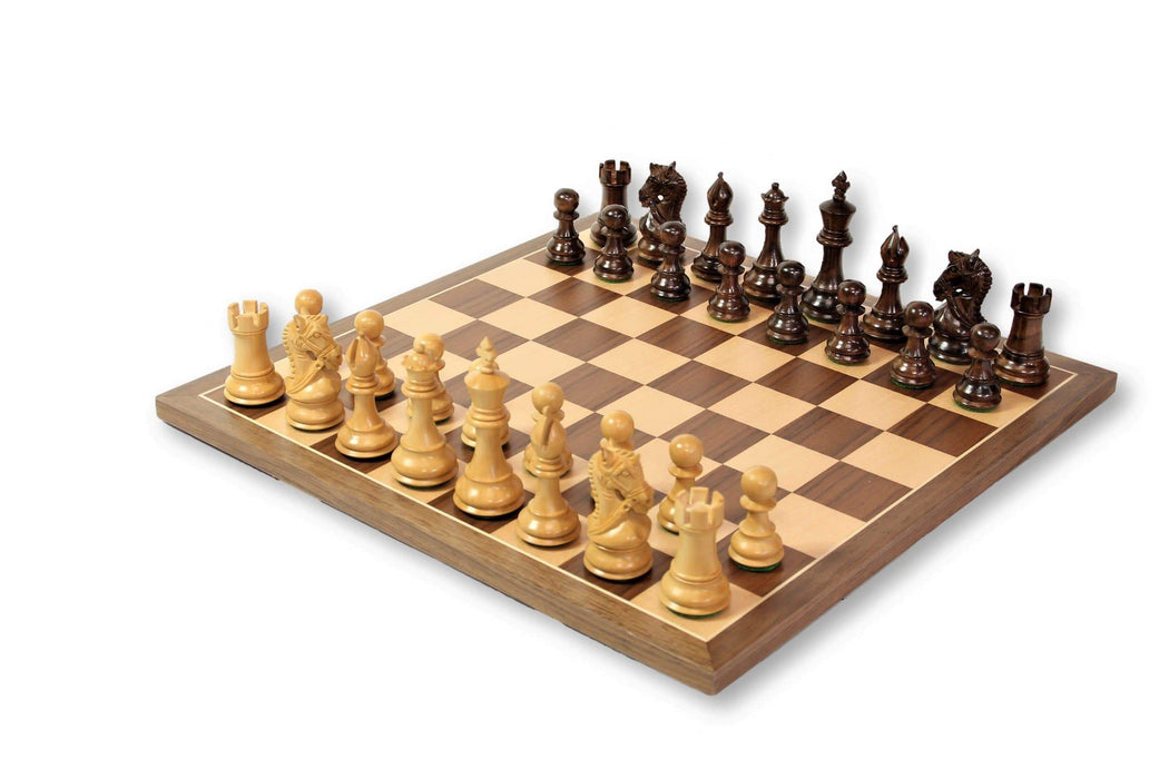 15.75 Kings Knight Bridled Walnut Combination - Chess Set