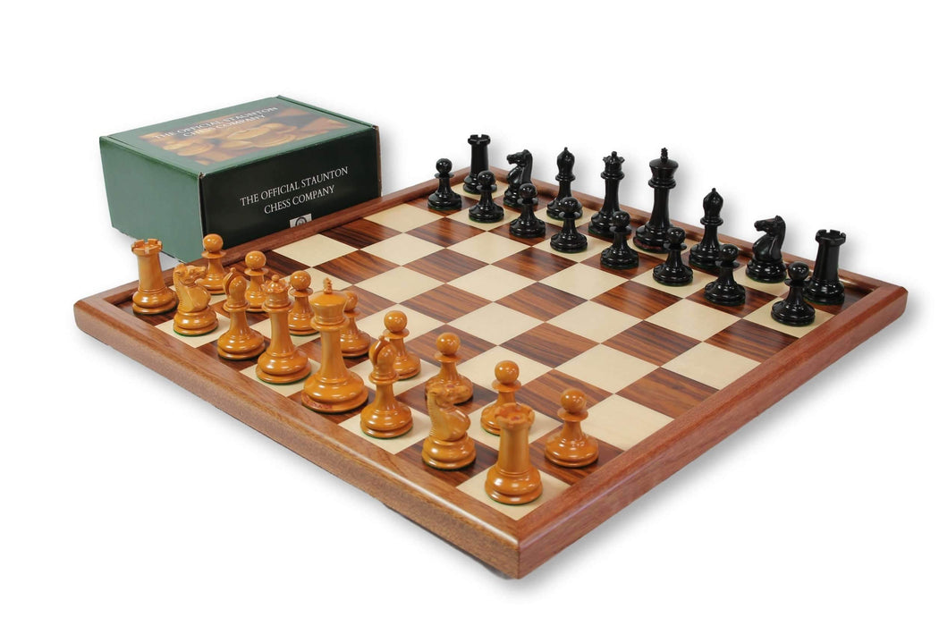 1862 Dropjaw Antique Ebony Mahogany Fischer Chess Set - Chess Set