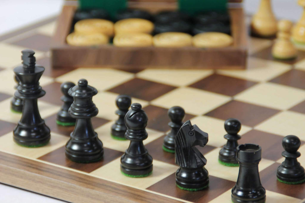 A Wooden Chess & Draughts Set