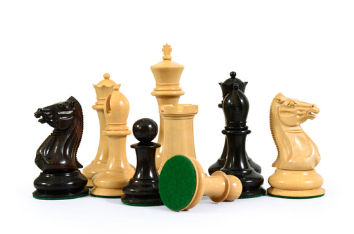 1849- 4.4 Inch Cooke Boxwood & Ebony Chess Pieces & Solid Wood Box - Official Staunton™