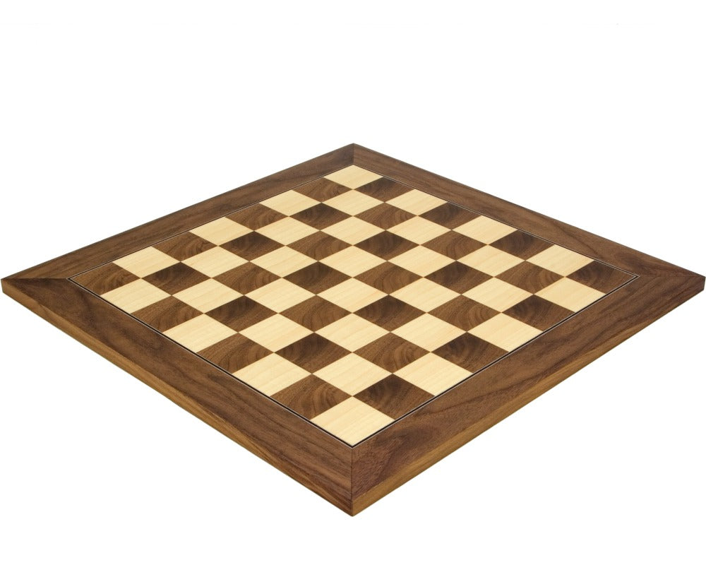 17.75 RC Walnut and Maple Deluxe Chess Board - Official Staunton™