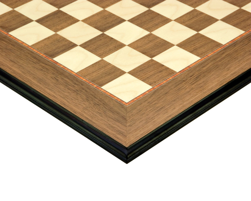 "19.7"" Walnut and Maple Walnut Deluxe Chess Board - Official Staunton™"