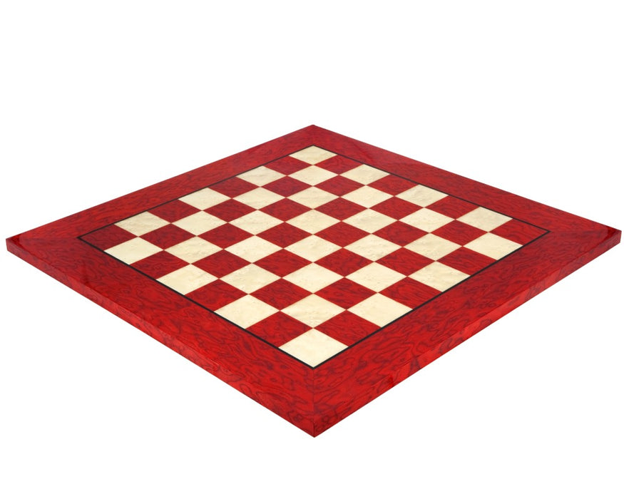 "20"" Italian Prestige Lacquered Red Erable Luxury Chess Board - Official Staunton™"