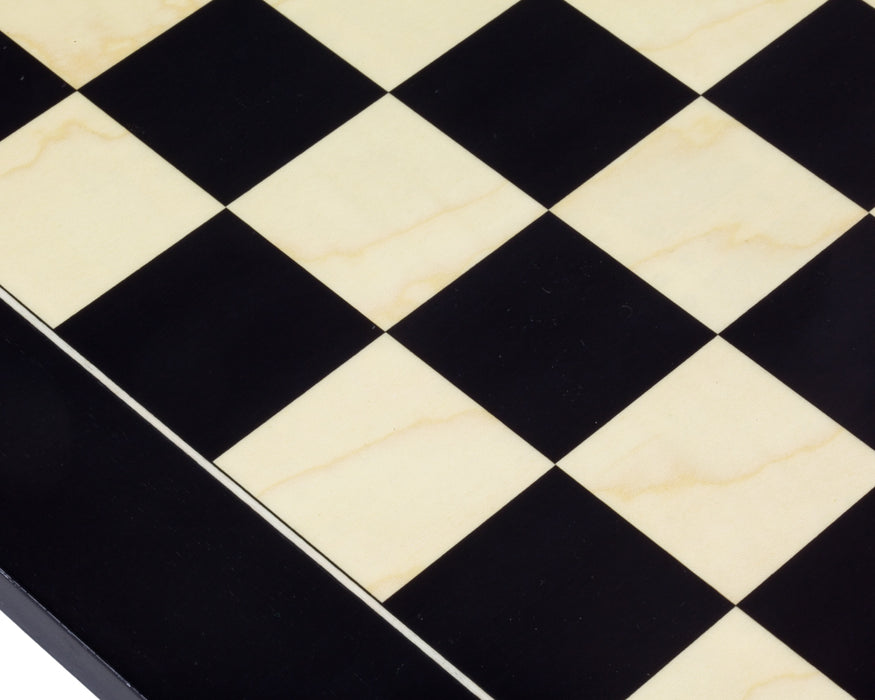 "19"" High Gloss Black Anegre and Maple Deluxe Chess Board - Official Staunton™"