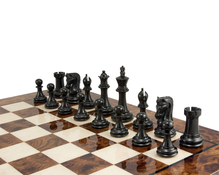 Canterbury Imperial Ebony Walnut Burl Chess Set Combination - Official Staunton™