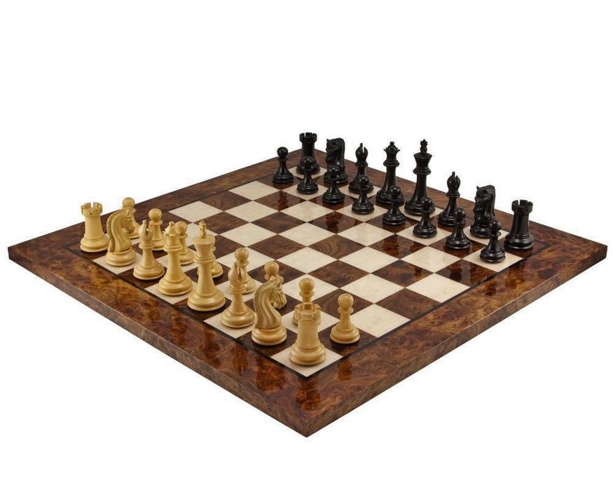 Canterbury Ebony RC Walnut Burl Chess Set Combination - Official Staunton™