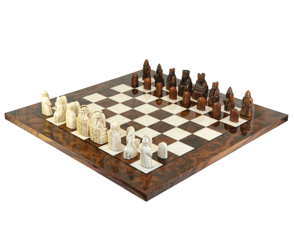 The Isle Of Lewis Teak Italian Walnut Prestige Chess Set - Official Staunton™