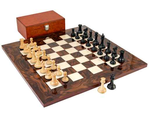 Luxury Ebony Walnut Burl Wood Sovereign RC Chess Set - Official Staunton™