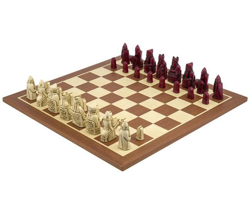 Isle of Lewis Mahogany Chessmen & Chess Board - Official Staunton™