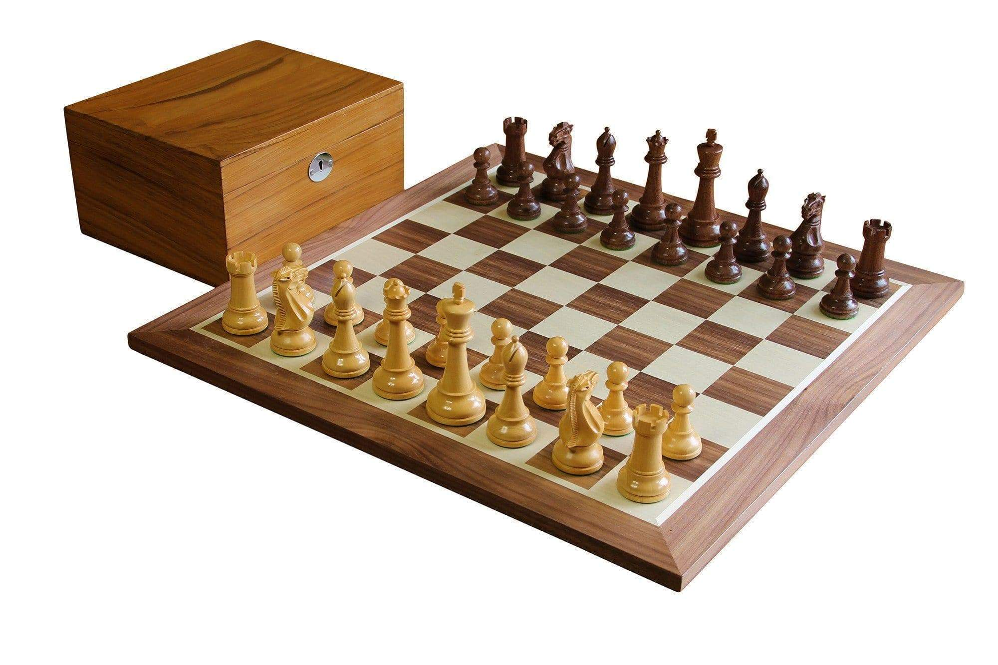 Acacia Walnut Winchester Natural Teak Chess Set