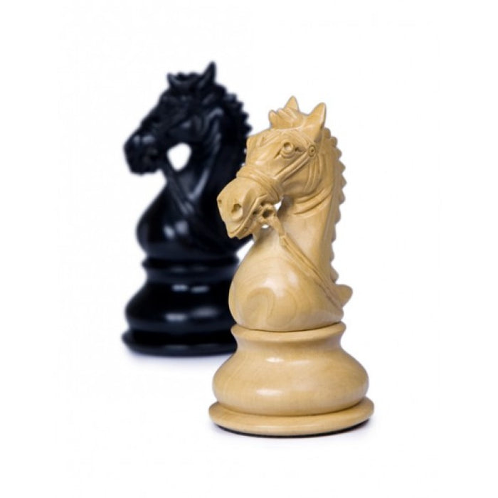 "4.5"" Kings Bridle Ebony & Boxwood Chess Pieces - Official Staunton™"