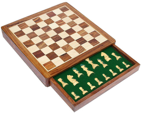 "12"" Solid Wood Magnetic Push Drawer Chess Set"