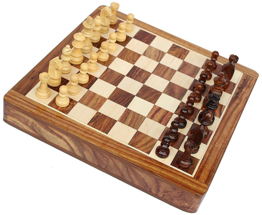 12 Solid Wood Magnetic Push Drawer Chess Set - Chess Set
