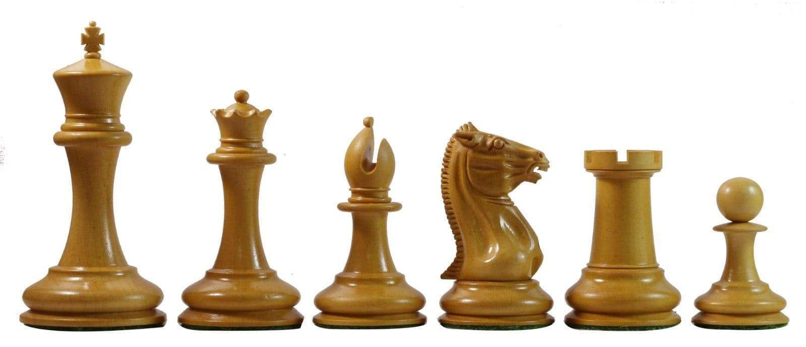 "Chess Set - 3.5"" Antique Boxwood & Ebony Cooke Reproduction Chess Pieces"