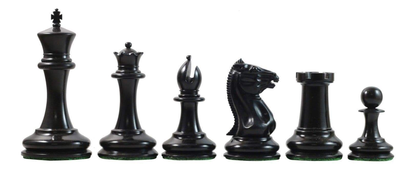 3.5 Antique Boxwood & Ebony Cooke Reproduction Chess Pieces - Chess Set