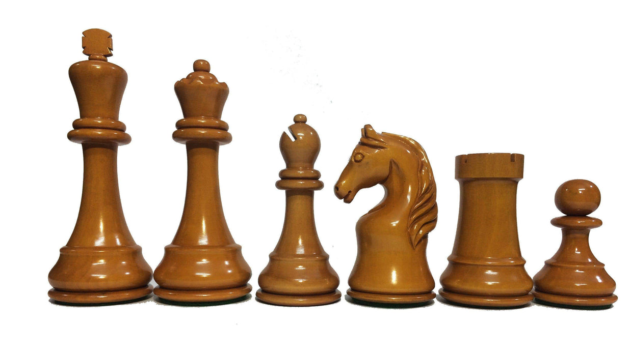Chess Set - 5 Inch Steiner Reproduction Antique Boxwood & Ebonised Chess Pieces