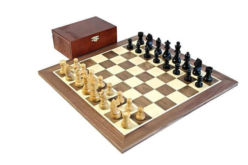 15.75 Walnut Black Classic Wooden Chess Set & Box - Chess Set