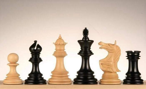 Ashia Roaring Knight Ebony Chess Pieces - Official Staunton™