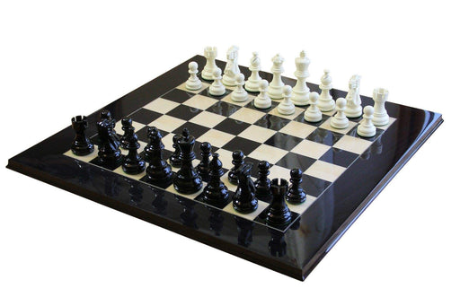 Atlantic Black Gloss & Cream Anegre Chess Set - Official Staunton™
